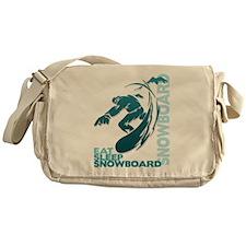 Eat Sleep Snowboard Canvas Messenger Bag