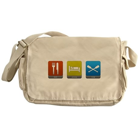Eat, Sleep, Row Canvas Messenger Bag