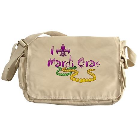 I Fleur-de-Lis Mardi Gras Canvas Messenger Bag
