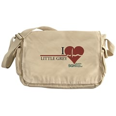I Heart Little Grey Canvas Messenger Bag