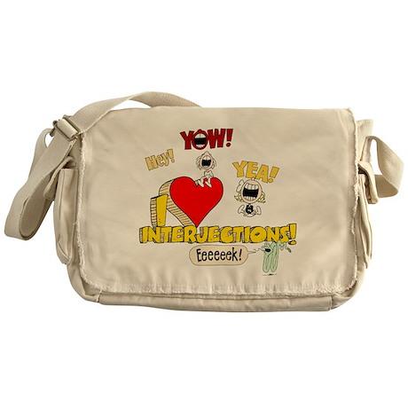 I Heart Interjections Canvas Messenger Bag