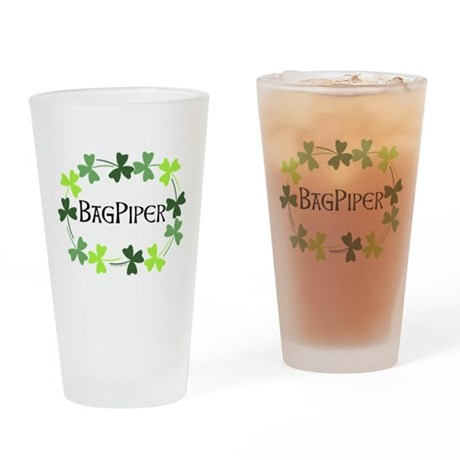 Bagpipe Shamrock Oval Drinking Glass