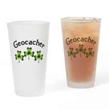 Geocacher 3 Shamrocks Drinking Glass