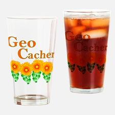 Geocacher Orange Flowers Drinking Glass