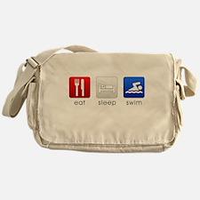 Eat Sleep Swim Canvas Messenger Bag