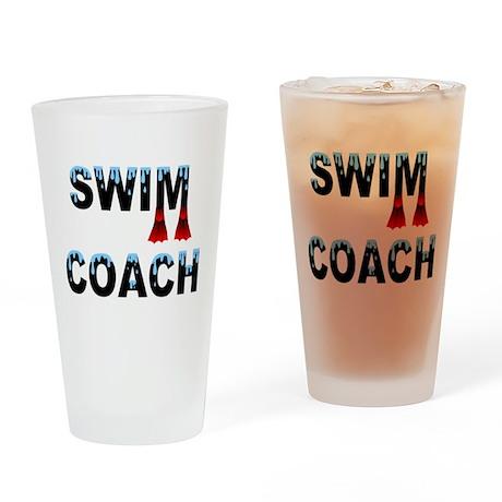 Swim Coach Black Drinking Glass