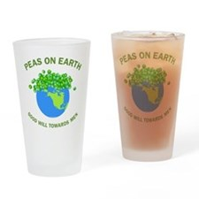 Peas on Earth Drinking Glass