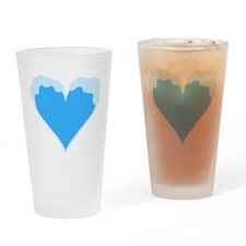 Snow Capped Heart Drinking Glass