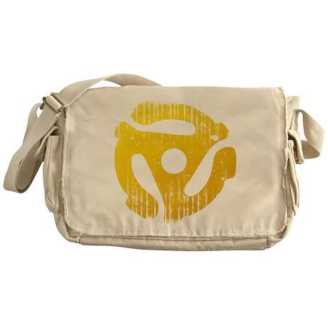 Distressed Yellow 45 RPM Adap Canvas Messenger Bag