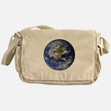 Western Earth from Space Canvas Messenger Bag