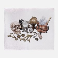 Skull_Keys_Witch_Desk_Items Throw Blanket