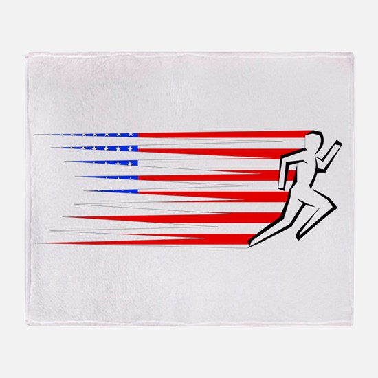Athletics Runner - USA Throw Blanket