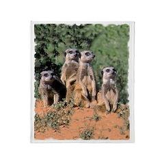 MEERKAT FAMILY PORTRAIT Throw Blanket