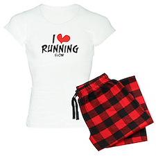 Funny I heart running slow pajamas