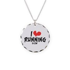 Funny I heart running slow Necklace Circle Charm