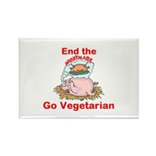 End the nightmare, Go Vegetarian Rectangle Magnet