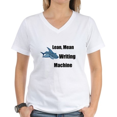 Lean Mean Writing Machine Women's V-Neck T-Shirt