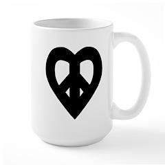 Heart Shaped Peace Black Large Mug