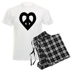 Heart Shaped Peace Black Pajamas