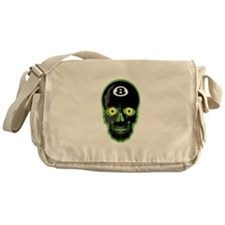 Green Eight Ball Skull Messenger Bag