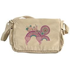 Rainbow Hearts Spirals Hippie Messenger Bag
