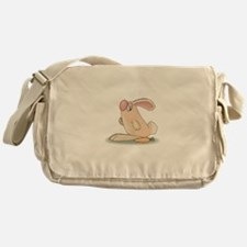 Cute Pink Bunny and Carrot Messenger Bag