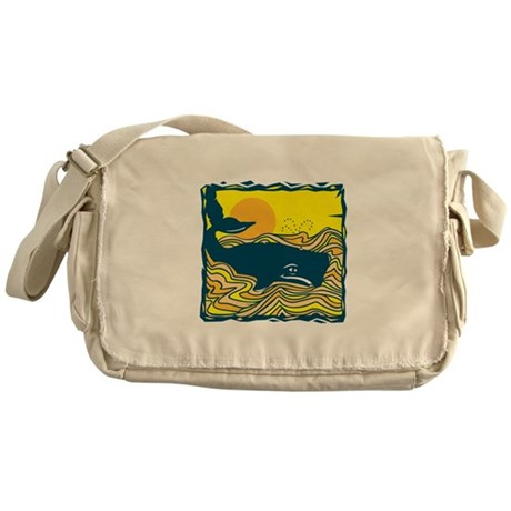 Swimming in Waves Whale Desig Messenger Bag