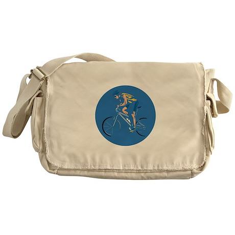 Mountain Biking Circle Design Messenger Bag