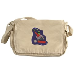 Alien on Skateboard Messenger Bag