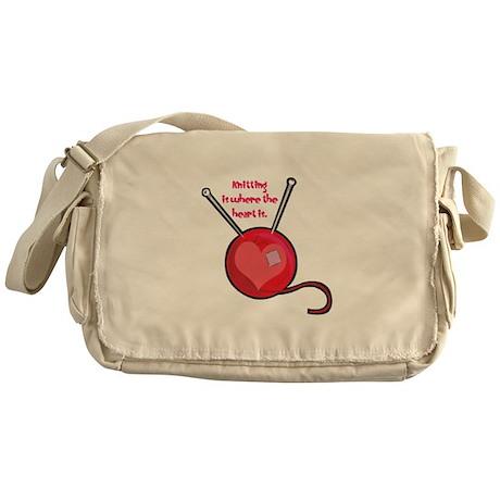 Knitting is Where the Heart I Messenger Bag