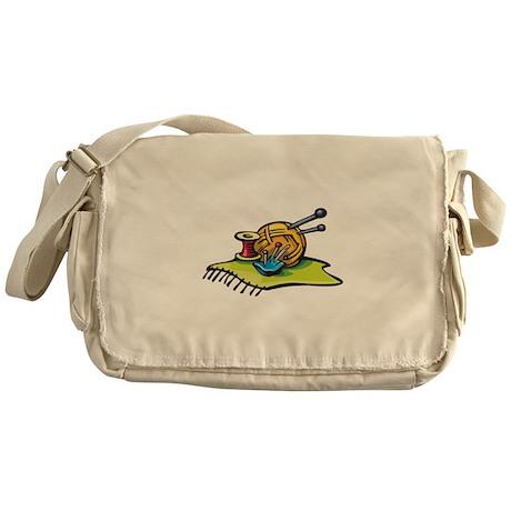 Knitting Supplies Design Messenger Bag