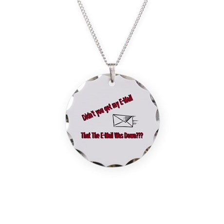 Email is Down Necklace Circle Charm