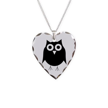Black Owl Necklace Heart Charm
