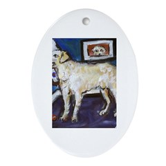 HUNGARIAN KUVASZ dog art Oval Ornament
