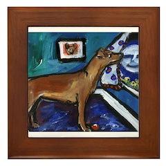 PINSCHER dog art design Framed Tile