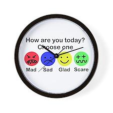 Mad,Sad,Glad & Scare Wall Clock