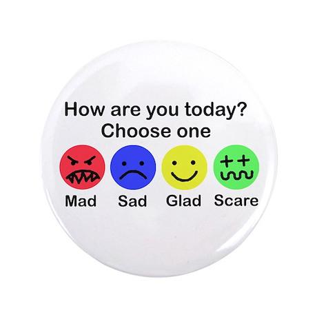 "Mad,Sad,Glad & Scare 3.5"" Button"