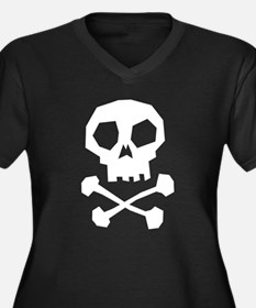 Skull Cross Bones Women's Plus Size V-Neck Dark T-
