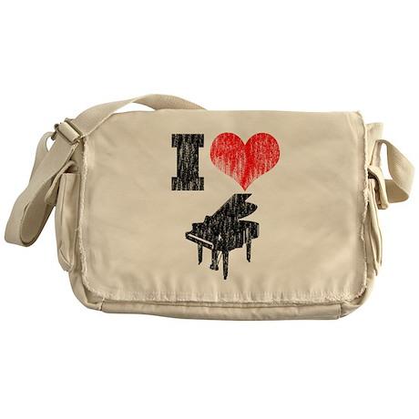 I Heart Piano Messenger Bag