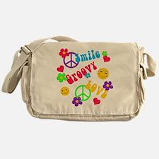 Smile Groovy Love Peace Messenger Bag