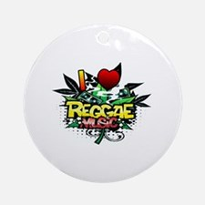 I Heart Reggae Music Ornament (Round)