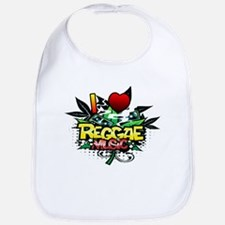I Heart Reggae Music Bib