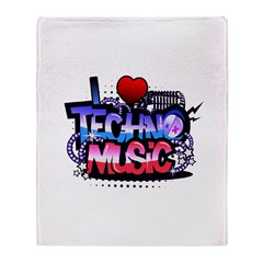 I Heart Techno Music Throw Blanket