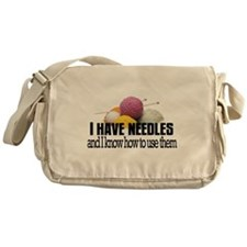 Knitting Needles Messenger Bag