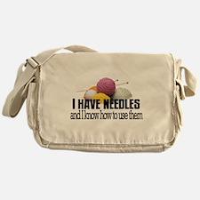 Knitting Needles Messenger Bag