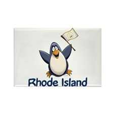 Rhode Island Penguin Rectangle Magnet
