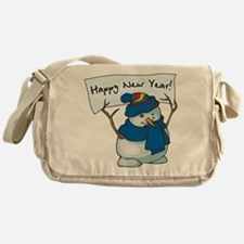Happy New Years Snowman Messenger Bag