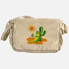 Cactus in the Desert Iguana Messenger Bag