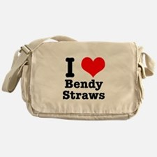 I Heart (Love) Bendy Straws Messenger Bag