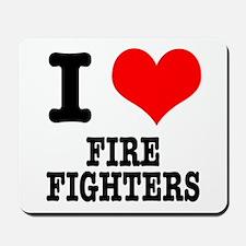 I Heart (Love) Firefighters Mousepad